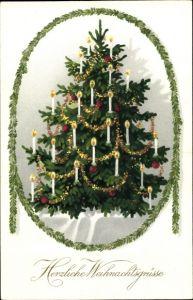 Passepartout Ak Frohe Weihnachten, Tannenbaum, Kerzen, Tannenzweig