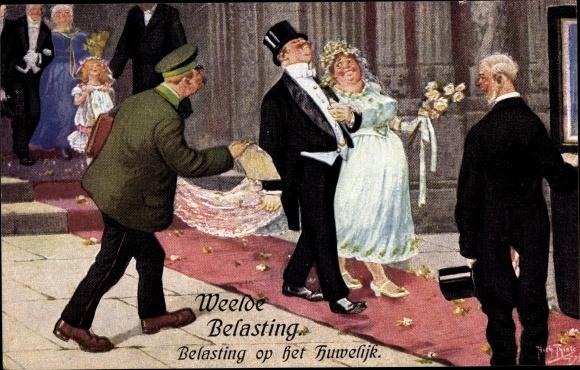 Künstler Ak Thiele, Arthur, Weelde Belasting, Belasting op het Huwelijk, Hochzeit, Beamter