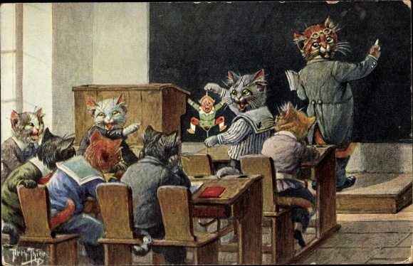 Künstler Ak Thiele, Arthur, Katzenschule, Schulklasse