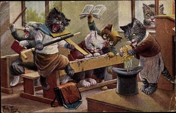 Künstler Ak Thiele, Arthur, Katzenschule, Das Verhängnis naht