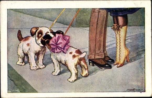 Künstler Ak Bertiglia, Aurelio, Küssendes Paar, Hunde an der Leine
