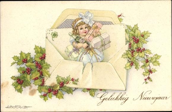 Künstler Ak Bertiglia, Aurelio, Glückwunsch Neujahr, Gelukkig Nieuwjaar, Sekt, Geschenke