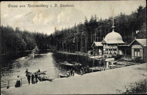 Ak Liberec Reichenberg Stadt, Stadtteich