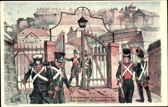 Künstler Ak Société de la Restauration et du 1er Juin, Soldaten, Tor, 30 Dezember 1813