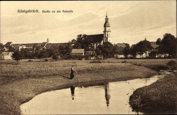 Ak Königsbrück in der Oberlausitz, Partie an der Pulsnitz
