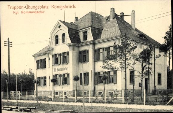 Ak Königsbrück in der Oberlausitz, Truppenübungslager, königliche Kommandantur