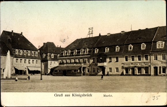 Ak Königsbrück in der Oberlausitz, Markt, Geschäft Hermann Winkler