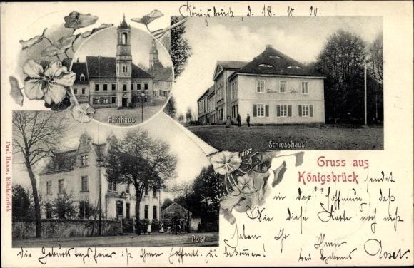 Ak Königsbrück in der Oberlausitz, Rathaus, Post, Schießhaus
