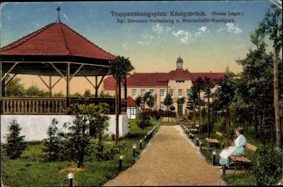 Ak Königsbrück in der Oberlausitz, Kgl. Garnison-Verwaltung, Mannschafts-Musikpark