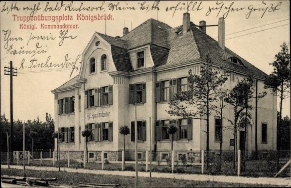 Ak Königsbrück in der Oberlausitz, Königliche Kommandantur, Truppenübungsplatz