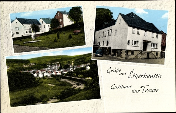 Ak Elkerhausen Weinbach Mittelhessen, Gasthaus zur Traube, Ortsansicht