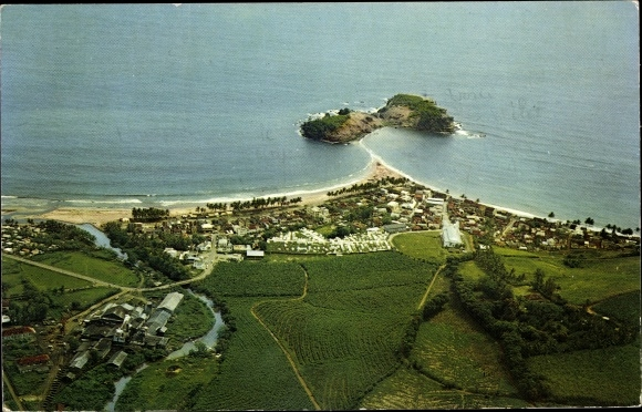 Ak Sainte Marie Martinique, Le bourg, l'ilet et l'usine, Fliegeraufnahme
