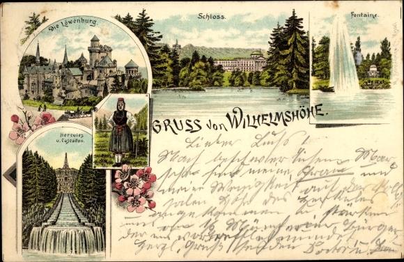 Litho Bad Wilhelmshöhe Kassel, Löwenburg, Schloss, Fontaine, Hercules, Kaskaden