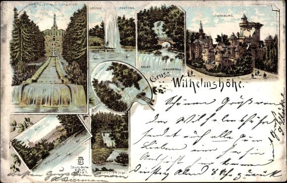 Litho Bad Wilhelmshöhe Kassel, Herkules, Kaskaden, Löwenburg, Wasserfall, Schloss