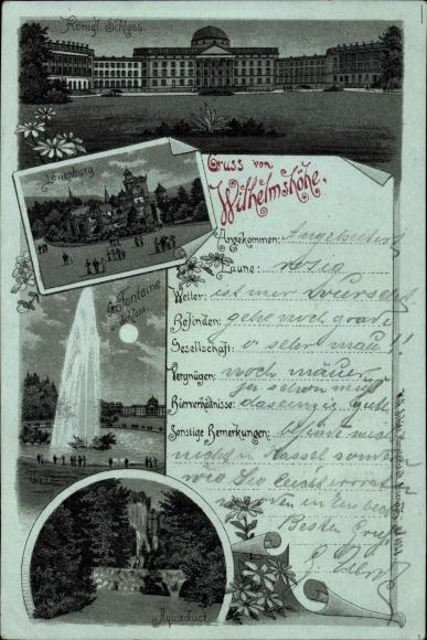 Mondschein Litho Bad Wilhelmshöhe Kassel, Kgl. Schloss, Löwenburg, Aquadukt