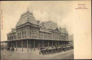Ak Montreal Québec Kanada, Grand Trunk Bonaventure Station, Bahnhof, Straßenseite, Kutschen