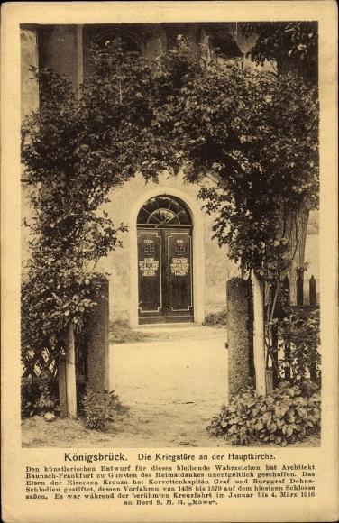Ak Königsbrück in der Oberlausitz, Kriegstür an der Hauptkirche