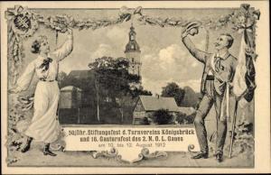 Ak Königsbrück, 50. jähr. Stiftungsfest d. Turnvereins, 16. Gauturnfest des 2. N. O. L. Gaues, 1912