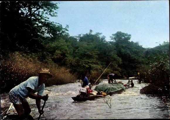 Ak Guyane Francaise Französisch Guayana, canotiers Boni sur le fleuve Maroni