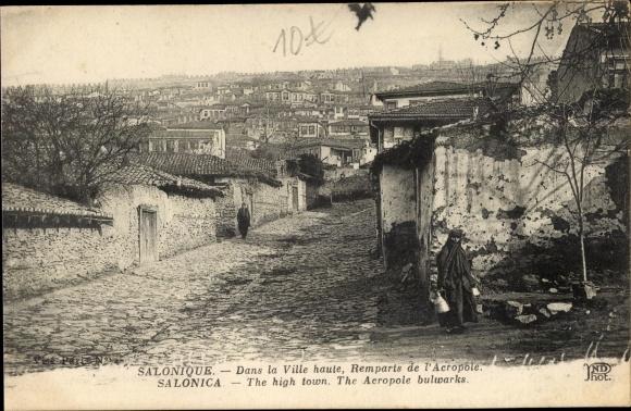 Ak Thessaloniki Griechenland, Dans la Ville haute, Remparts de l'Acropole