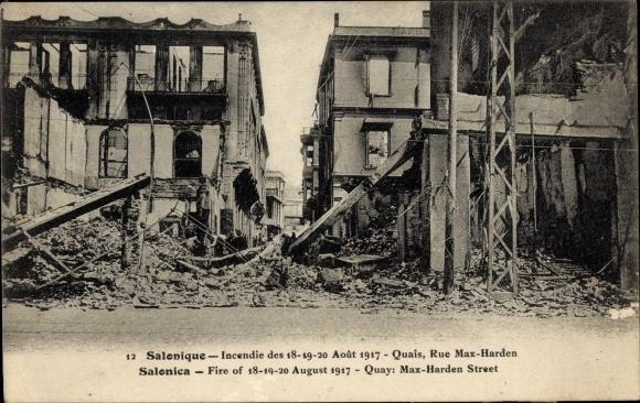 Ak Thessaloniki Griechenland, Incendie Aout 1917, Quais, Rue Max Harden