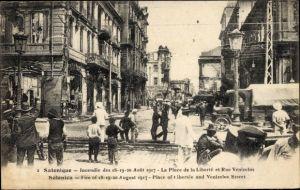 Ak Thessaloniki Griechenland, Incendie Aout 1917, Place de la Liberté, Rue Venizelos