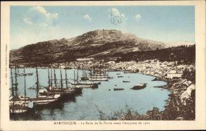 Ak Saint Pierre Martinique, La rade avant l'éruption de 1902, Hafenpartie