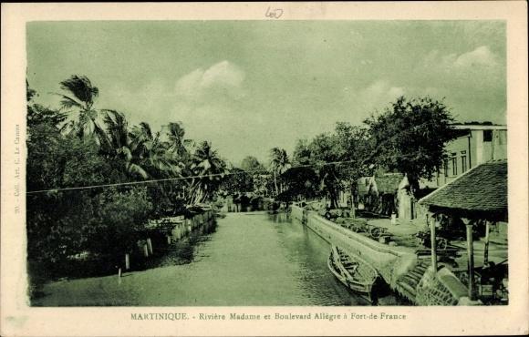 Ak Fort de France Martinique, Rivière Madame et Boulevard Allègre