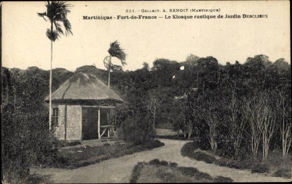 Ak Fort de France Martinique, Le Kiosque rustique de Jardin Desclieux