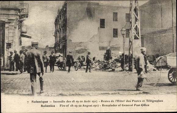 Ak Thessaloniki Griechenland, Incendie Aout 1917, Hotel des Postes et Télégraphes