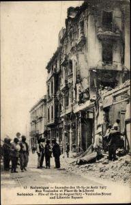 Ak Saloniki Griechenland, Incendie Aout 1917, Rue Venizelos et Place de la Liberté
