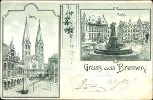 Litho Hansestadt Bremen, Dom, Markt
