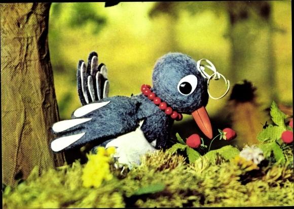 Ak Sandmännchen, Frau Elster, DDR Kinderfernsehen