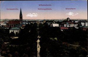Ak Wilhelmshaven in Niedersachsen, Chrituskirche, Stationsgebäude, Wasserturm