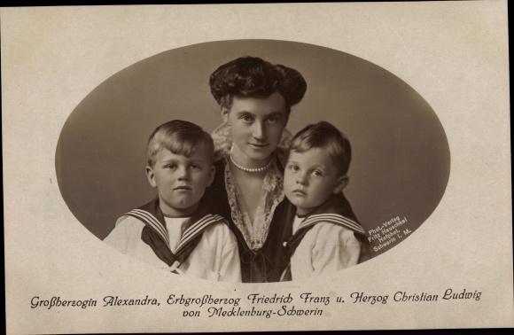Ak Großherzogin Alexandra von Mecklenburg Schwerin, Erbgroßherzog Friedrich Franz