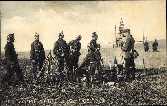 Ak Telegraphen Abteilung im Gelände, Deutsche Soldaten