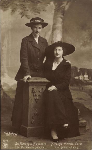 Ak Großherzogin Alexandra von Mecklenburg Schwerin, Herzogin Victoria Luise von Braunschweig