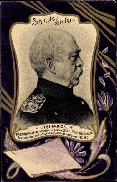 Präge Passepartout Litho Otto von Bismarck, Herzog zu Lauenburg, Bundeskanzler, Schichts Seifen