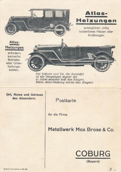 Klapp Ak Atlas Heizungen, Metallwerk Max Brose & Co., Automobile