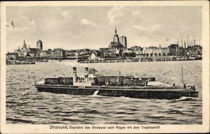 Ak Stralsund in Mecklenburg Vorpommern, Überfahrt nach Rügen mit dem Trajektschiff