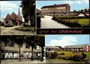 Ak Oldendorf in Niedersachsen, Kirche, Schule, Geschäft