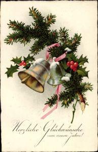 Ak Glückwunsch Neujahr, Glocken, Tannenzweig, Stechpalmenzweige