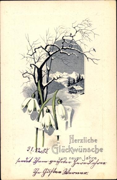 Präge Passepartout Ak Glückwunsch Neujahr, Schneeglöckchen
