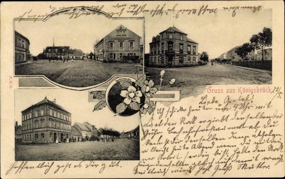Ak Königsbrück in der Oberlausitz, Emaillierwerk, Hohenthalstraße, Weißbacher Straße