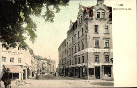 Ak Löbau in Sachsen, Bahnhofstraße, Fleisch u. Wurtwarengeschäft, G. Ernst Wendler Nachf.