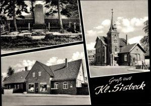 Ak Klein Sisbeck Twülpstedt Velpke Niedersachsen, Geschäft, Kirche, Denkmal