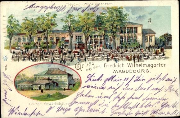 Litho Magdeburg an der Elbe, Friedrich Wilhelmsgarten, Gruson Gewächshäuser
