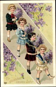 Präge Passepartout Ak Glückwunsch Neujahr, Kinder, Blumensträuße