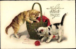 Ak Glückwunsch Neujahr, Katzen, Korb, Wollknäuel