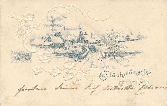 Präge Passepartout Litho Glückwunsch Neujahr, Kutsche, Brücke, Stadtbild, Schneelandschaft, Blumen